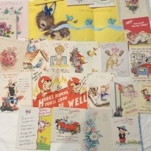 23 Vintage Get Well Thinking of You Etc Cards